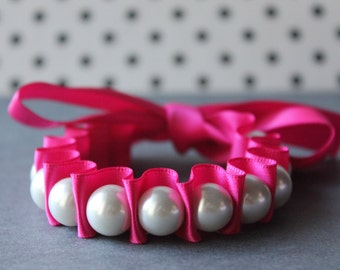 White Pearl with Pink Ribbon Bracelet