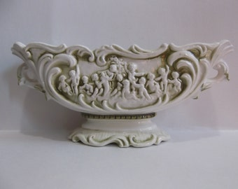 Green and Ivory Relpo Planter with Cherubs