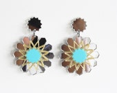 Silver Mirror and Turqouise Zellije Moroccan Star Earrings
