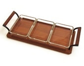 Serving tray, Glass dishes, Party snacks serving bowls, teak wood Nordia danish modern Houseware