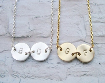 2 Best friend necklace, Two Customized Initials, 2 Monogram Necklace, Silver or Gold, Personalized,  Mother/Daughter, Couple Sisters,