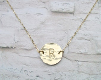 Initial necklace, Hammered necklace, Gold Filled necklace, Disc necklace, Personalized necklace, Christmas gift, Minimalist necklace,