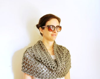 Shawl/ Grey/ knitting/ Wrap/ infinity scarf/ Cowl/ wool winter accessories