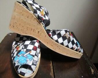 NWOB  Vtg.Nicole Miller Sling Back Peep Toe 100% Silk  Cork Wedge Shoes Made In Italy