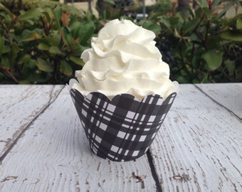 Black and White Cupcake Wrappers (Set of 12)