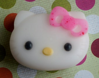 10  KITTY Soap with pink ribbon (Favors)- Glycerin SLS free soap, Stocking Filler- Birthday Favor