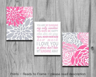 You Are My Sunshine Art Pink Gray Set Nursery Art  3 Print Baby Shower Gift Baby Girls Bedroom Decor Print Or Canvas