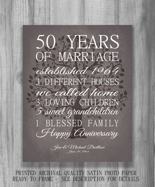 50th Anniversary Gift For Parents Keepsake 50 Year Anniversary
