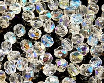 50pcs Czech Fire-Polished Faceted Glass  Beads Round 6 mm Crystal AB (6FP002)