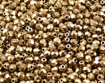 50 pcs Czech Fire-Polished Faceted Glass Beads Round 4mm  Jet Gold Bronze (4FP065)
