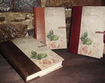 Italian handmade leather and canvas journal -  Romantic model - My memories