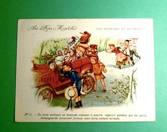 French VTC, Au Bon Marche, Family Outing & Flat Tire, Victorian Trade Card