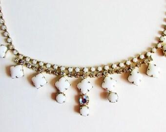 Milk Glass Rhinestone Necklace