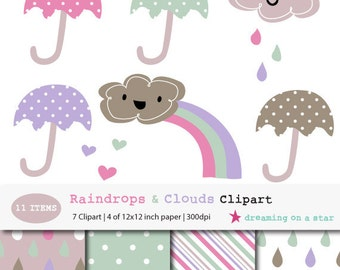 SALE Cute Clip Art, Baby Clip art, Raindrop Clip Art, Umbrella Clip Art, Cloud Scrapbook Paper, Nursery Clip Art, 11 items, Commercial Use