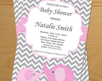 Girl Baby Shower Invitation Elephant Baby Shower Invitation Girl Baby Shower Invitation Editable (82v) Free Thank You Card Instant Download