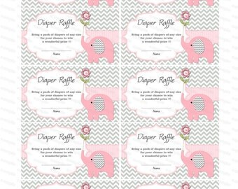 Baby Shower games Elephant Baby Shower Diaper Raffle Ticket Diaper ...