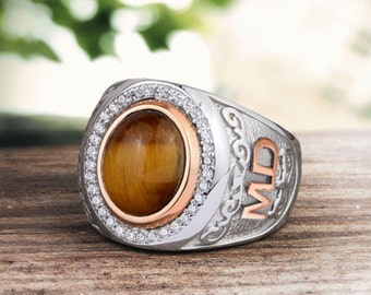 Personalized Silver Ring With Individual 10k GOLD Initials Mens Gemstone Handmade Vintage Ottoman Style :FREE Shipping via FedEx 59366