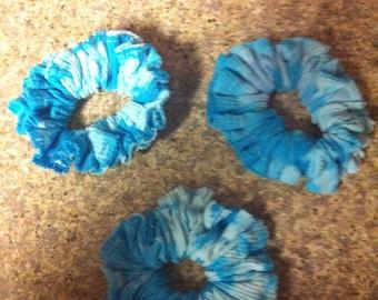 Blue tie Dyed Hair Scrunchie