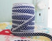 Navy Blue Polka Dot Double Fold Crochet Edge Bias Tape (No. 15)