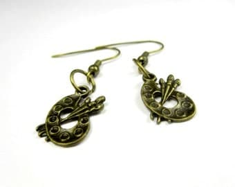 fashion earrings painter palette  light weight/bronze  color approximate 35mm long