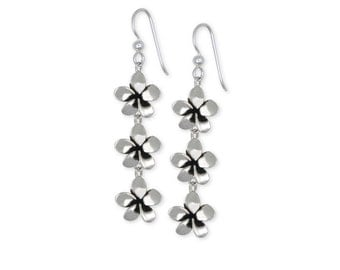 Sterling Silver Plumeria Flower Earrings Jewelry  PLM1-E