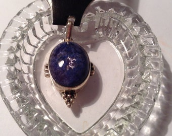 Lapis Lazuli, Sterling Silver, Statement Pendant, Large, Bold, Tribal, Primitive, Arizona, Made in USA