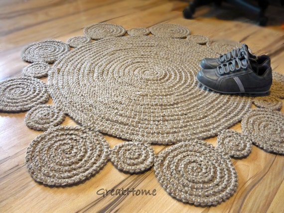 tapis au crochet fleur design tapis tapis de jute naturel. Black Bedroom Furniture Sets. Home Design Ideas