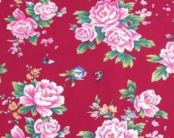 Peonies and butterflies fabric / Oriental peonies fabric (1 yard)