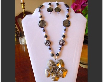 Exotic Shell, Art Glass, Hematite and Pearl Necklace with Ornate Pewter Focal and Earring Set