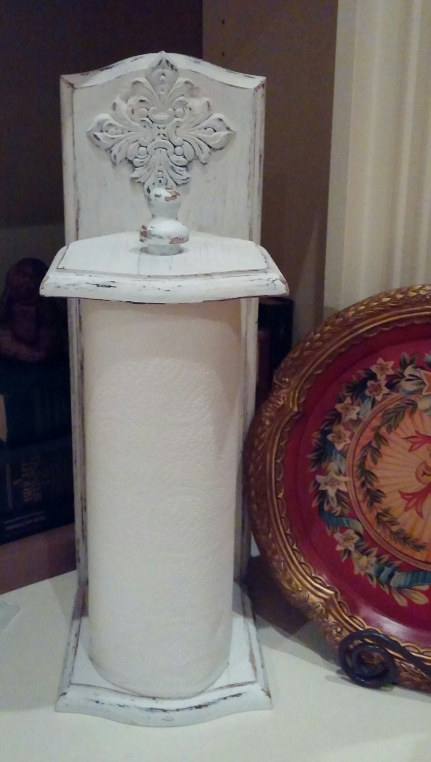 Shabby chic paper towel holder vintage white for Shabby chic towel stand