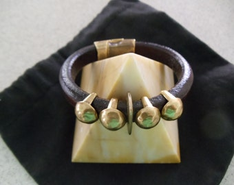 Handmade Leather Cuff With Brass  Studs And A Brass Magnetic Clasp RM31