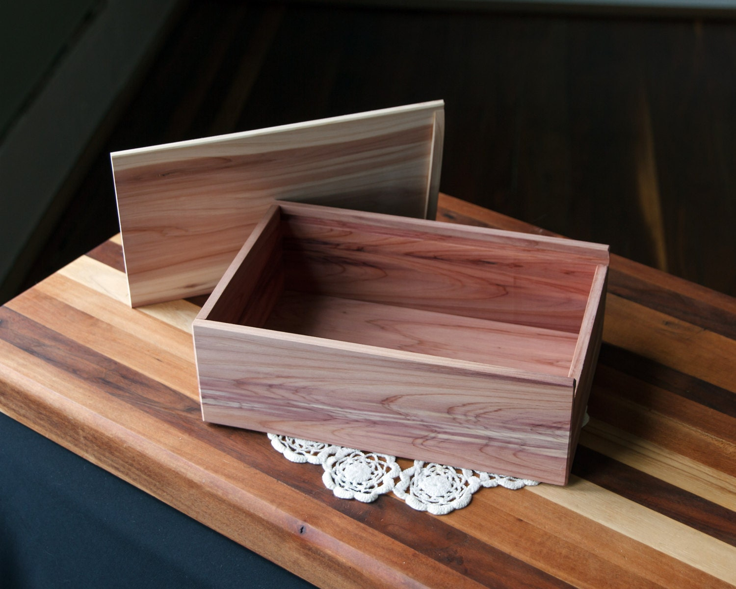 Sliding Wood Box : Wood box with sliding lid large wooden by