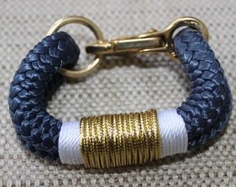 Customized Maine Rope Bracelet - Navy Rope - White / Metallic Gold - Made to Order