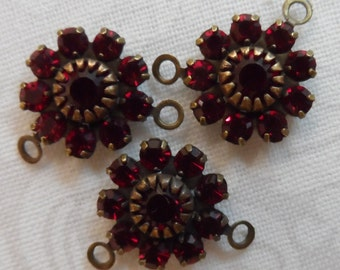 Swarovski crystal cluster rhinestones,3pcs, siam-SZC37