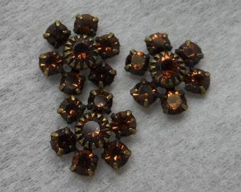 Swarovski crystal 11mm cluster rhinestones,smoke topaz,3pcs-SZC14