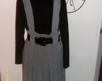 Vintage 1970s- 80s Belted Skirt Jumper, size 5-6- Made in USA by John Roberts