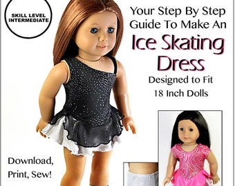 Pixie Faire Sew Urban Ice Skating Dress Doll Clothes Pattern for 18 inch American Girl Dolls - PDF
