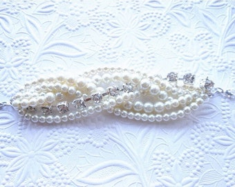 Ivory Pearl and Rhinestone Braided Bracelet, Chunky Statement Pearl Bracelet, Bridal Bracelet