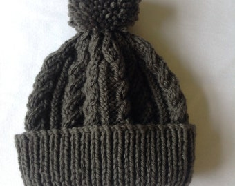 Charcoal grey hand knitted aran beanie bobble hat - range of sizes available from 0-3 to 24 months - on trend for autumn 2014