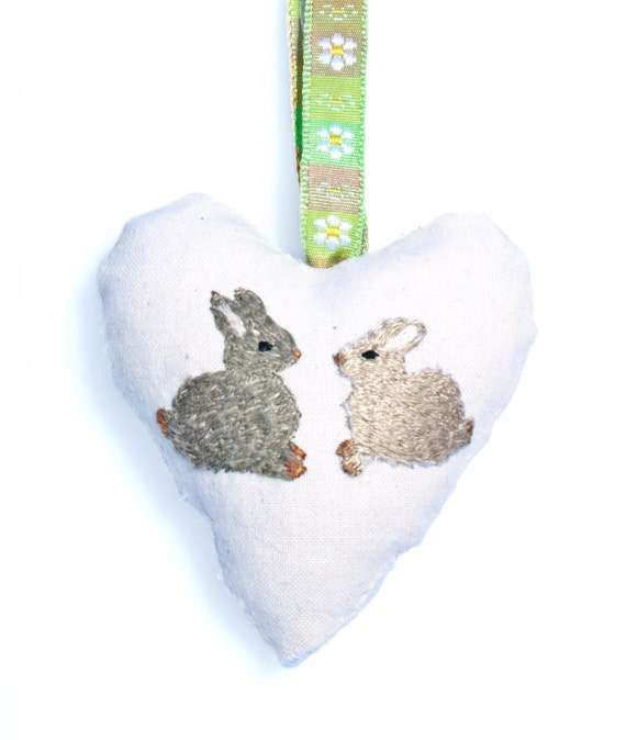 Hand embroidered rabbit heart