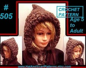 Crochet Pattern Hat - Womens Hat, Beanie, Hat with flower, Fall Fashion, Pixie Hood, women, kids, crochet pattern  num 505,