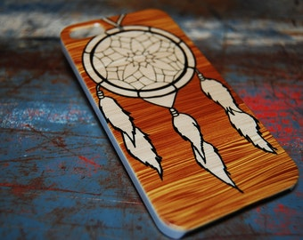 Natural Wood With Dream Catcher For Iphone 6 / (4.7) / 4.7 / 5 / 5c / 5s / 4s / 4 Back Cover New Indian 4th Gen 5th Generation Phone c107