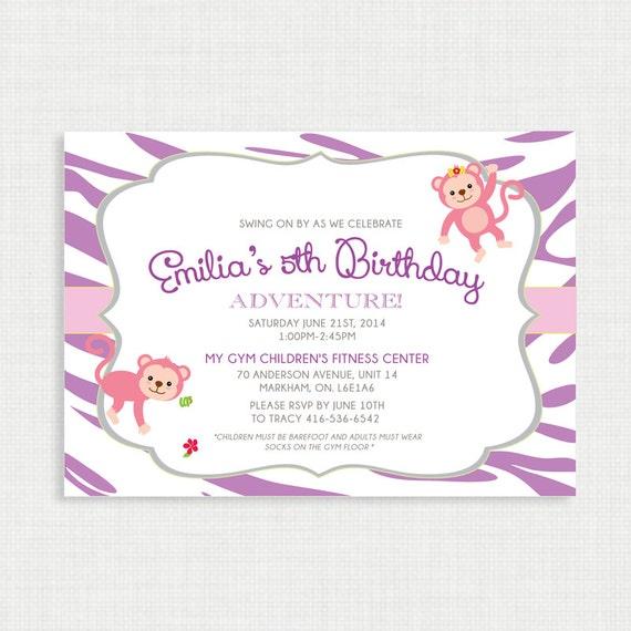 Printable Birthday Invitation- Monkey Birthday Invitation, Jungle Safari Birthday Invite, Monkey Birthday Invite, Monkey, Printable-DIY