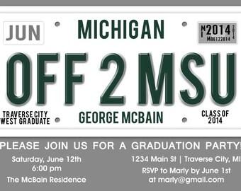 License Plate Graduation Party Invitation -  Unique Graduation Announcement - High School