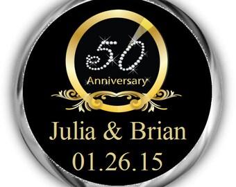 Diamond 50th Anniversary Hershey Kisses Stickers - Anniversary Kiss Favors