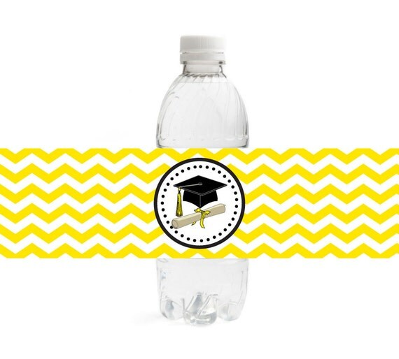 Items Similar To Chevron Graduation Water Bottle Labels - Digital