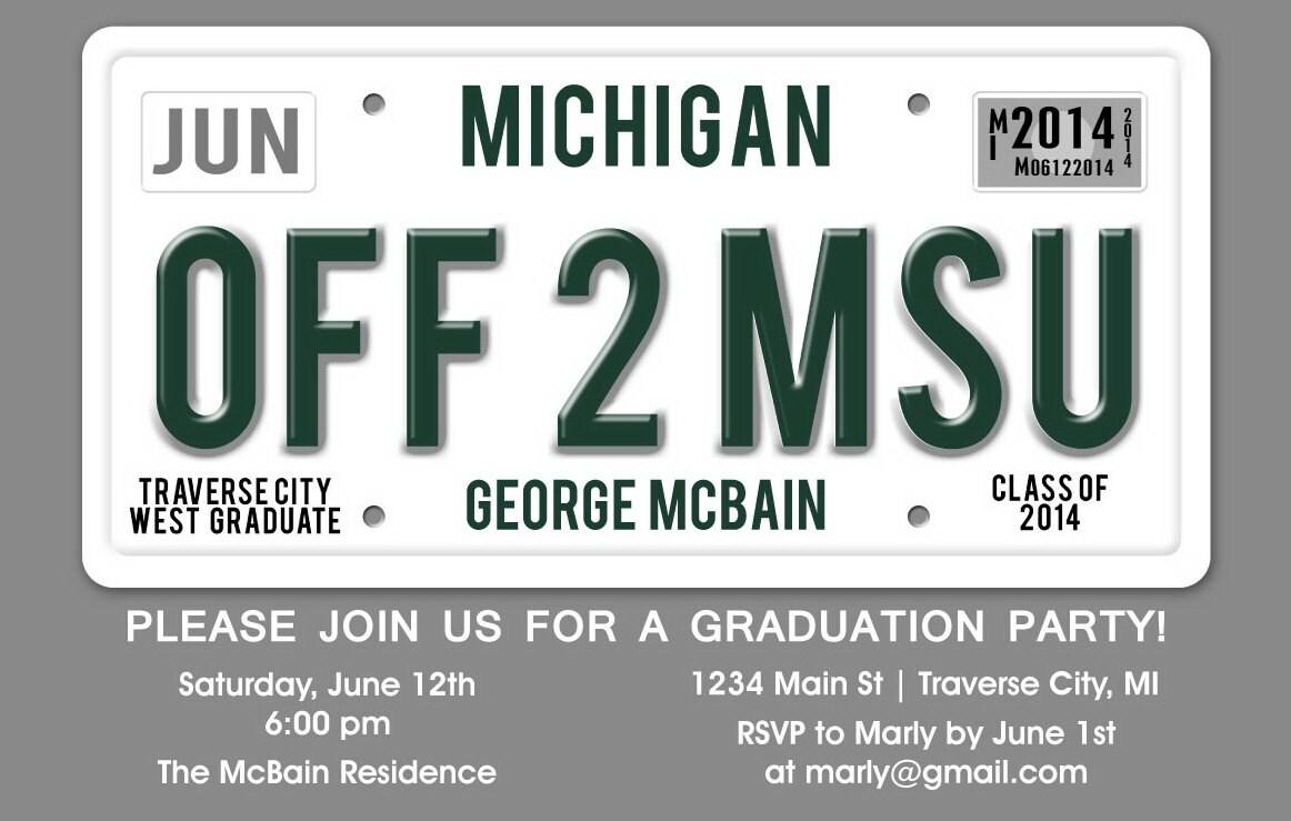 License Plate Graduation Party Invitation Unique Graduation