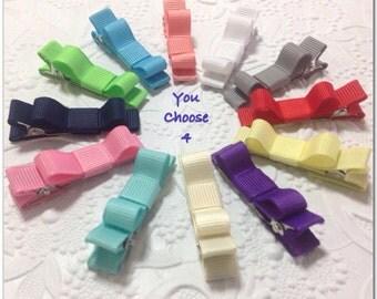 Baby hair bows -  4 pack tuxedo hair clip - newborn, toddler, mini snap clips, alligator clips, choose colors