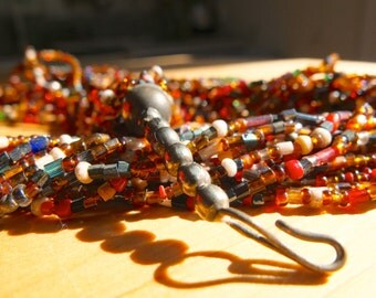 African trade bead statement necklace / multi strand / multi colour