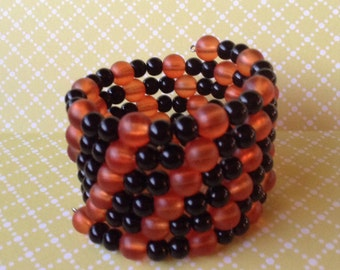 Clearance Sale! Bracelet, Black and Orange, memory wire, 5 wraps